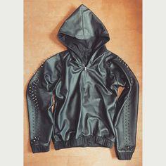 Leather hoodie by Branwell www.branwell.xyz instagram @branwell_proper