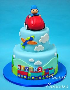 Pocoyo Transportation Cake - cake by Sweet Success - CakesDecor Cake Pocoyo, Fondant Cakes, Cupcake Cakes, Transportation Birthday, Cloud Cake, Bolo Cake, Blue Cakes, Salty Cake, Cakes For Boys