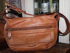 Fossil Tan Brown Leather Small Shoulder Handbag Vintage  #Fossil #ShoulderBag