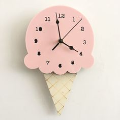 Nordic Cute Ice Cream Clock Time Wall Hanging Wood Toys Model Baby Kids Room Furnish Articles INS Child Christmas Birthday Gift Childrens room Cute Clock, Cool Clocks, Diy Clock, Clock Decor, Baby Room Colors, Baby Room Decor, Wall Clock Cartoon, Cream Wall Clocks, Wall Clock Silent
