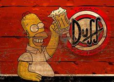 Duff Vintage Labels, Vintage Signs, Vintage Posters, Bar Retro, Beer Cartoon, Simpsons Drawings, Goofy Disney, Homer Simpson, Bike Design