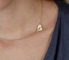 Initial Heart Necklace Personalized Name Necklace by MinimalVS, $57.00