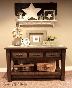 i like the combo of the white and browns for a different spin on country decor.