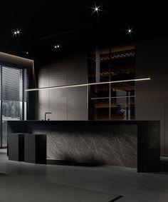 Gray Interior, Kitchen Interior, Black Dining Set, One Wall Kitchen, Dark Living Rooms, Dark Interiors, Cuisines Design, Black Kitchens, Modern Kitchen Design