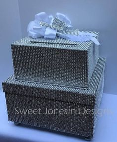 Silver Diamond Bling Covered Wedding Card Box, Diamond Covered Card Box,Sweet Shower Box, Silver Card Box,Custom Made Wedding Reception Centerpieces, Wedding Decorations, Gift Card Boxes, Mesh Ribbon, Square Card, Card Box Wedding, Silver Diamonds, Bling, Sweet 16