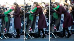 Terry Campbell, 10, demands a hug from the Duchess of Cambridge during her visit to Newcastle-on-Tyne  Picture: Paul Edwards/The Sun/PA