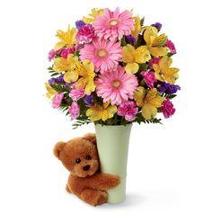 Send someone a *hug* :) Gorgeous bouquet with a teddy bear hug <3