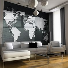 papier peint carte sur pinterest mappemonde carte murale du monde et peintures murales. Black Bedroom Furniture Sets. Home Design Ideas