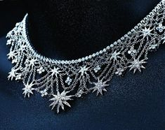Diamond Necklaces : Tiffany & Co.'s platinum and diamond Lace necklace. - Buy Me Diamond Louis Comfort Tiffany, Tiffany & Co., Tiffany And Co Jewelry, Lace Necklace, Steampunk Necklace, Star Necklace, Discount Jewelry, Wattpad, Diamond Are A Girls Best Friend