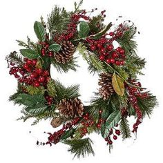 Waterproof Mixed Berry 22 in. Wreath is the perfect touch for your door or wall in the holidays. The wreath includes large pine cones, mixed types of pine and leaves and berries all on a natural twig base. Hang it from a wall or door. Pine Cone Christmas Tree, Burlap Christmas, Christmas Tree Ornaments, Christmas Wreaths, Christmas Crafts, Christmas Decorations, Holiday Decor, Merry Christmas, Berry Wreath