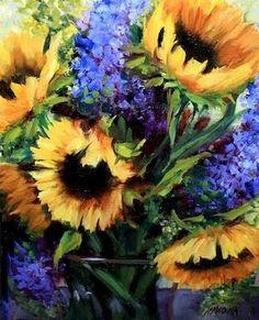 Nancy Medina Art: Bountiful Bloomers Sunflowers and Hydrangeas