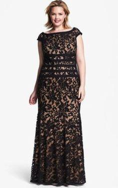 Tadashi Plus Size Lace Gown