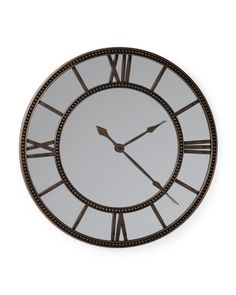 Decorative Clocks For Walls framed clock wall mirror square roman numeral wrought iron metal