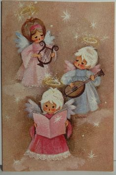 1960s Hallmark Angel Vintage Christmas Card{ ooohhhhh I haven't seen these in years , reminds me of my Mamoo's Christmas. Shen I was a lil girl}