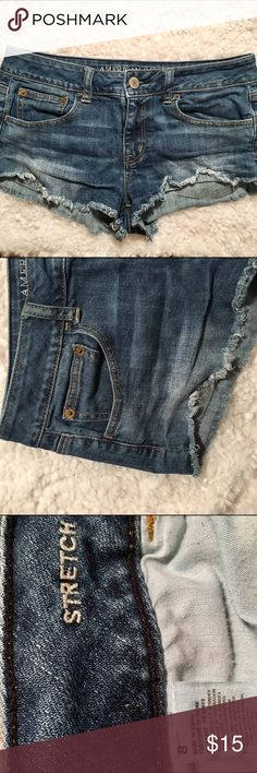 American Eagle medium wash shorts Frayed look at bottom, shortie fit American Eagle Outfitters Shorts Jean Shorts