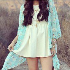 Floral Mint Kimono