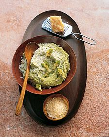 Broccoli Romanesco, which looks like a cross between broccoli and a coral reef, is a staple in Italy, but it's often available at farmers' markets in the United States. This garlicky puree can also be made with regular broccoli or cauliflower.