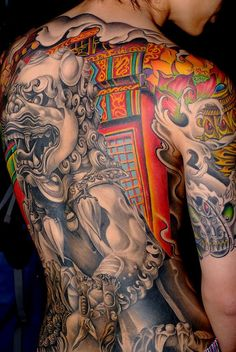 ABSOLUTELY FABULOUS Japanese Tattoo - love that it's not all color as well.