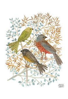LARGE Songbirds Print giclee print nature bird art woodland