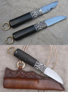 Tveir Hrafnar - Two Ravens is the name of one little knife with the blade from wrought and old file and handlefrom moose antler, bog oak and brass. Handle is ornamented with motives form Gotlandic finds. Motiv, ressembles ravens body, from which as a beak protrudes small but sharp blade. http://www.gullinbursti.cz/index.php?lang=en&page=item&id=19