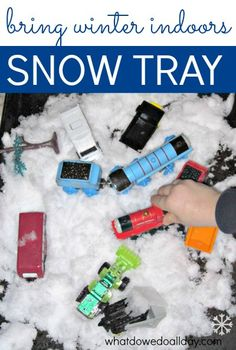 Kids love indoor snow play with toy cars!