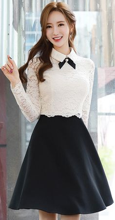 StyleOnme_Ribbon Brooch Set Collared Lace Dress Informations About StyleOnme_Ribbon Brooch Set Collared Lace Dress Pin Cute Fashion, Asian Fashion, Look Fashion, Girl Fashion, Korean Dress, Korean Outfits, Mode Outfits, Skirt Outfits, Pretty Dresses