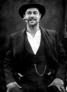 The Assassination of Jesse James by the Coward Robert Ford. Brad Pitt as Jesse James People Smoking, Man Smoking, Cigar Smoking, Oklahoma, Famous Cigars, Assassination Of Jesse James, Angelina Jolie, Jolie Pitt, Smoking Celebrities