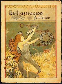 """Alexandre de Riquer (1856 -1920). """"Capçalera del número de Cap d'Any de La Ilustración Artística, 1897"""". Montaner y Simón. Barcelona. España."""