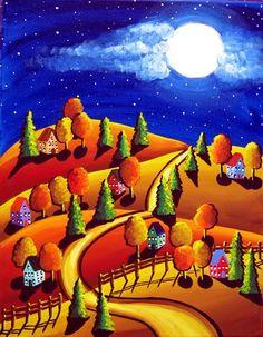 Bajar escena coloreada con una luna llena brillante y caída de hojas y árboles. Escena de caprichosas y coloridas artesanías.  La talla mide 20 de alto x 16 ancho y hecho sobre lienzo de Galería envuelta con los lados pintados, tan listos para colgar.  Se trata de un original del arte hecho en Galería estirada, envuelto la lona. La pintura se extiende alrededor de los lados (lados están pintados), por lo que se puede colgar, sacarlo de la caja. Ninguna estructura es necesario, a menos que…