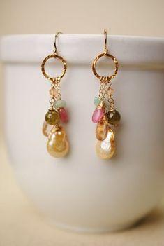 infi002  dangle hoop gemstone freshwater pearl elegant earrings for women