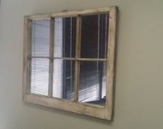 Naturally Distressed white Window Mirror by TheDecorativeCompany Distressed Wood Mirror, Window Pane Mirror, Wood Flag, White Mirror, Old Windows, How To Distress Wood, Home Accents, Rustic Decor, Natural Wood