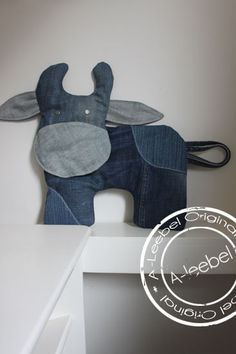 Old jeans by A-leebel Diy Crafts Old Jeans, Jean Crafts, Denim Baby Shower, Fabric Crafts, Sewing Crafts, Handmade Stuffed Animals, Denim Ideas, Recycle Jeans, Recycled Denim