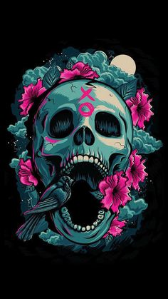 Sugar Skull Wallpaper for iPhone 62 images 28 Skull iPhone Wallpaper To Darken Up Your Phone Screen iphone skull wallpaper . Art Pop, Wallpaper Caveira, Los Muertos Tattoo, Totenkopf Tattoos, Arte Horror, Skull Tattoos, Art Tattoos, Skull And Bones, Skull Art