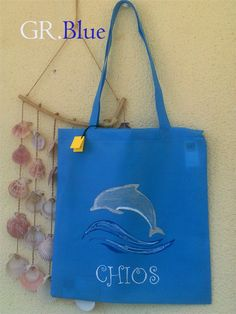 Handmade decorated shopping bag. Beautiful summer color.Mid blue.