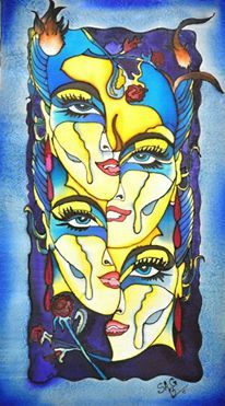 Faces- silk painting