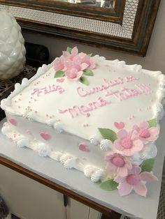 Cake Decorating Piping, Creative Cake Decorating, Cake Decorating Videos, Cake Decorating Techniques, Square Birthday Cake, Birthday Sheet Cakes, Buttercream Cake Designs, Cake Icing, Deco Cupcake