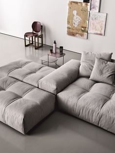 Sofa modern stoff  Modular Upholstered Sofa Pixel by Saba Italia. Grey. Abstract ...