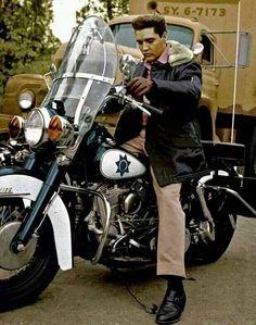 Elvis Presley and his motorcycle's