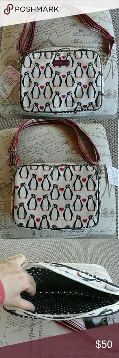 Bungalow 360 Canvas Penguin Tablet Crossbody Bag NWT.  Vegan.  Canvas.  Black and white polka dot lining.  Perfect for a tablet.  My favorite style of Bungalow 360 bag but I want a different print than the penguins.  They're very cute but not the one for me.  Price negotiable. Bungalow 360 Bags