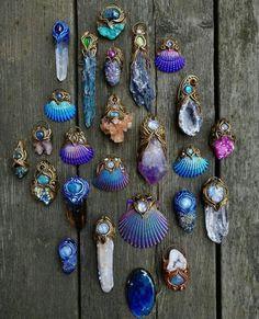 Shell & Crystal pendants