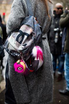 Chanel backpack, Fendi keychain