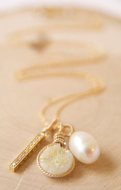 Lemon Druzy and Pearl Charm Necklace Mothers Day Gift by BareandMe