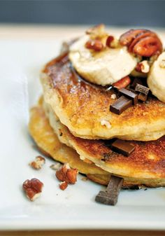 Joy Wilson's pancake batter consists of a buttermilk base flecked with old-fashioned oats, a smattering of chocolate chips and banana slices.