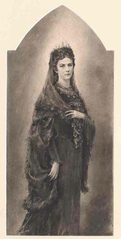 "Portrait by unknown artist of  Empress Elisabeth ""Sissi"" (Elisabeth Amalie Eugenie) (24 Dec 1837-10 Sep 1898) Bavaria.  Sissi was the wife of Emperor Franz Joseph I (18 Aug 1830-21 Nov 1916) Austria."
