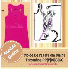 Regata em Malha - Molde Grátis, para confecionar suas blusa, o molde para roupa no blog esta em 5 tamanhos ate o plus size