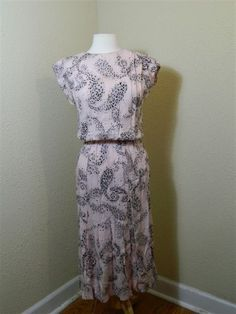 Vintage Dress  Dawn Joy Fashions  Pink with Black Dot Pattern sz 9/10 by VintageBaublesnBits, $35.00