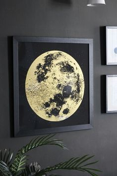 lifestyle image of Unframed Gold Moon Art Print on wall with plant and other prints Art Courses, Typography Art, Moon Art, Illustration Art, Illustrations, Fine Art Prints, Artwork, Painting, Gold