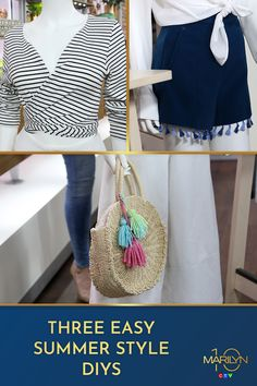 We love a good DIY, and can't get enough of these simple and stylish upgrades to your summer wardrobe. Turn your basic t-shirt into a wrap shirt, add tassles to shorts, and pom poms to the always-trendy straw bag for some extra colour! Marilyn Denis Recipes, Wrap Shirt, Pom Poms, Summer Wardrobe, Super Easy, Straw Bag, Colour, Shorts, Stylish