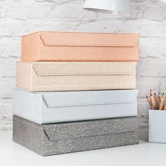 A practical and stylish way of organising office paperwork and useful in the home for storing household papers, receipts, recipes etc. Ideal for use in a bedroom, study, kitchen or office. All our beautiful handmade stationery and storage products are produced in an eco-friendly way, from 100% recycled materials.
