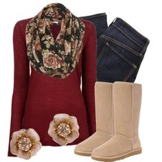 black floral print snood - dark wash skinny jeans - cream Ugg-like boots - pale pink/cream flower studs with diamonds - lighter than marron burnt out sweater